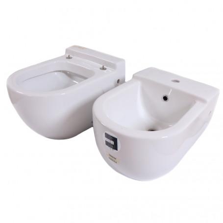 Sanitari Sospesi in Ceramica Vaso WC + Bidet Axa ONE con Sedile Incluso