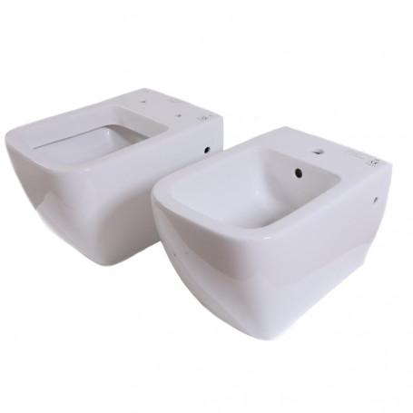 Coppia Sanitari Sospesi in Ceramica Vaso WC + Bidet Rak Metropolitan