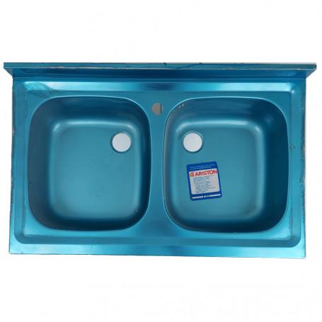 Ariston Lavello Cucina ad Incasso 2 Vasche in Acciaio Inox Cromato 80 cm