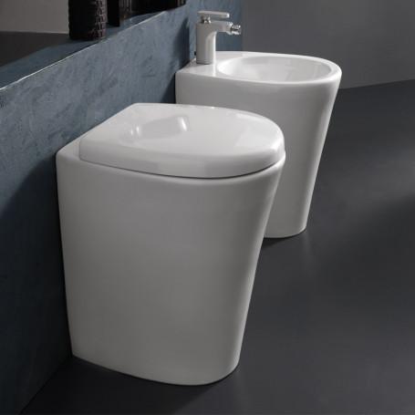 Sanitari in Ceramica A Pavimento Filo Parete Vaso WC + Bidet + Sedile Made in Italy