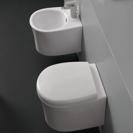 Ceramic Sanitary suspended Vase + WC + Bidet Seat Made in Italy With / Without Brackets
