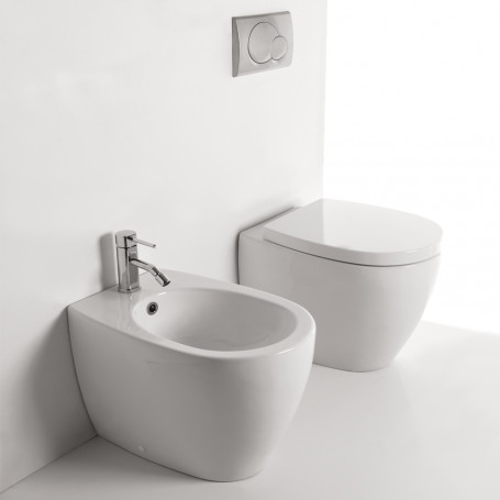 Ceramic Sanitary A Floor Wire Wall Vase + WC + Bidet Seat WITHOUT BRIDA