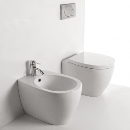 Sanitari in Ceramica A Pavimento Filo Parete Vaso WC + Bidet + Sedile SENZA BRIDA