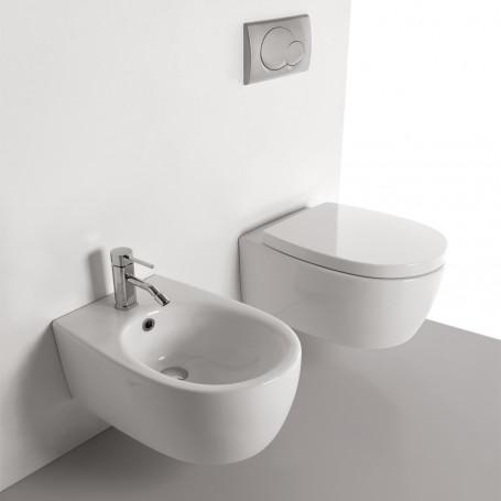 Sanitari in Ceramica Sospesi Vaso WC + Bidet + Sedile Made in Italy Con/Senza Staffe