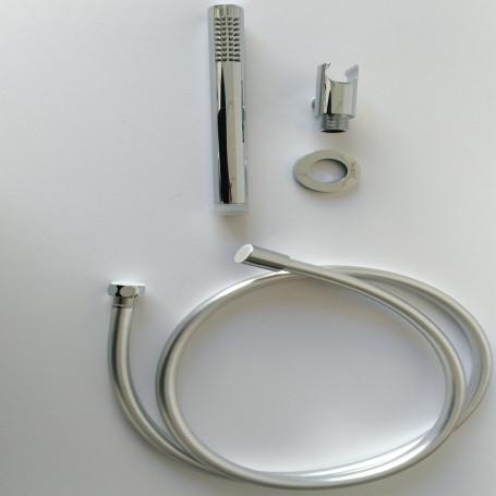 Kit Set Doccia Ottone Cromato Completo di Supporto Presa Acqua Con Flessibile E Doccetta Tondeggiante