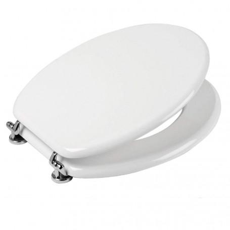 Sedile Copri Water Dimensione Universale Colore Bianco Materiale MDF Pesante Cerniere Cromo